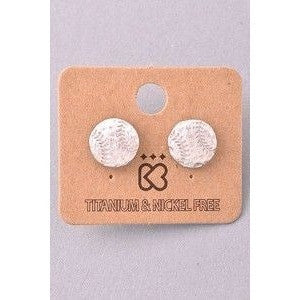 Silver Baseball Earrings