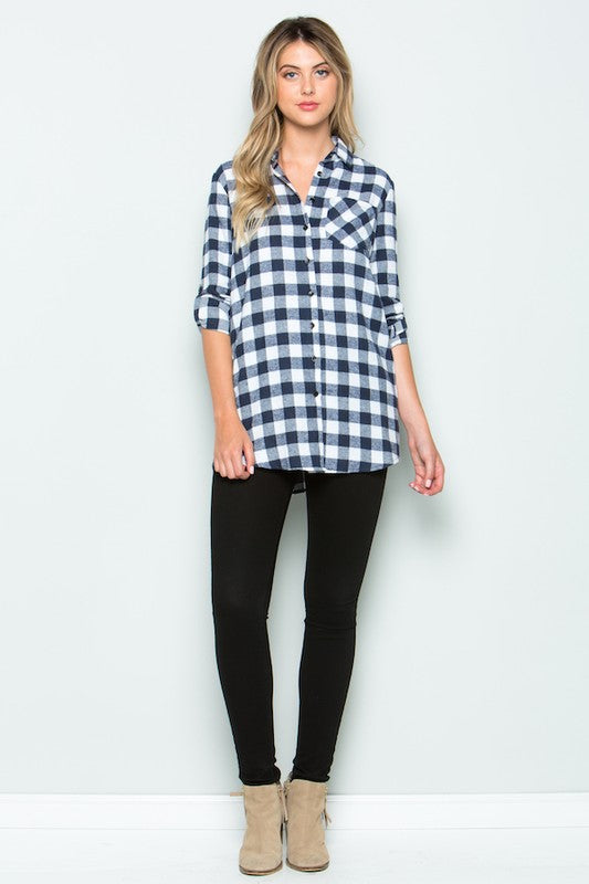 Gingham plaid printed button down FLANNEL shirt with roll up long sleeves, side pockets, and chest pocket.