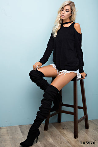 Black Long Sleeve Top with Cut Out Neck