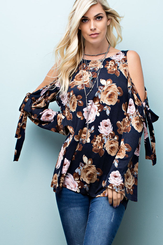 Navy Cold Shoulder Floral Print Top
