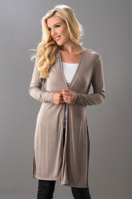 Side Slit Long Sleeve Open Front Midi Cardigan.