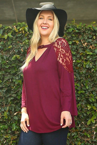 Plus Size Burgundy Solid Ruched Top with Lace Shoulder
