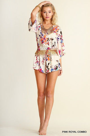 Floral Print Offwhite & Pink Romper