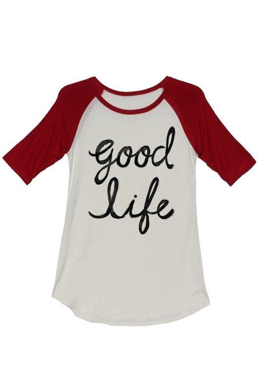 Good Life Red Baseball Shirt