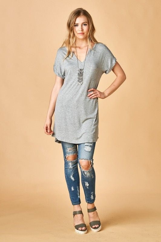 Split Neck Line Solid Gray Tunic. Can be worn as a shirt or dress.