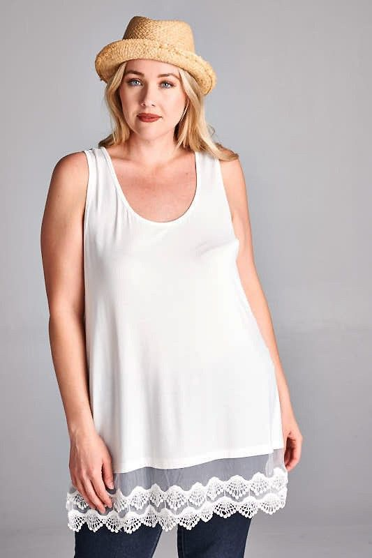 Plus Size Lace Trim Off White Tunic Top