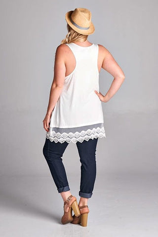 Plus Size Lace Trim Black Tunic Top