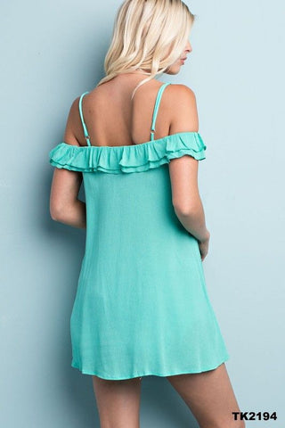 Bare Shoulder Mint Ruffle Top