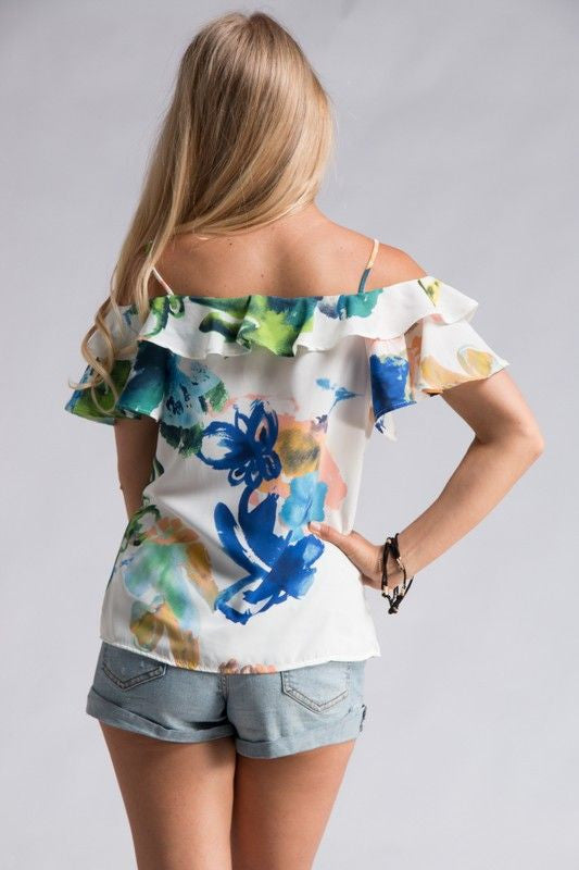 Abstract floral print off shoulder top. 100% polyester.