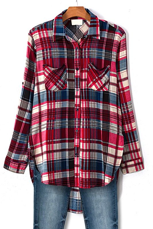 High Low Plaid Rolled Up Sleeve Button Up Top