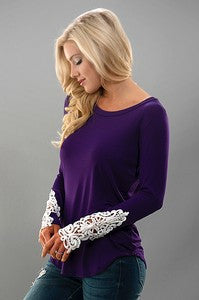 Long Sleeve Solid Top, Purple, 96% Rayon 4%Spandex