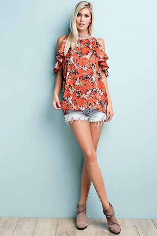 Rust Floral Ruffle Open Shoulder Top