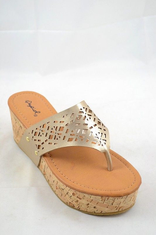 Adorable gold wedged flip-flop sandal!