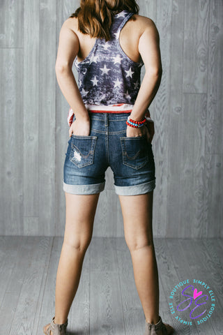 Lightly Destroyed Wash Cuffed Jean Shorts