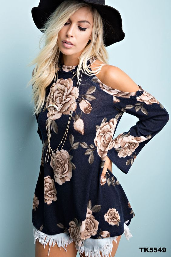 Navy Floral Cold Shoulder Top