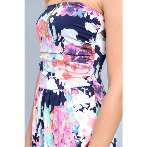 Strapless Flower Maxi Dress