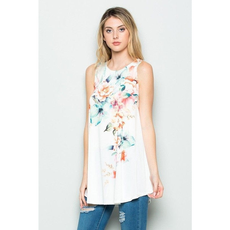 White flower sleeveless print top. Long length.