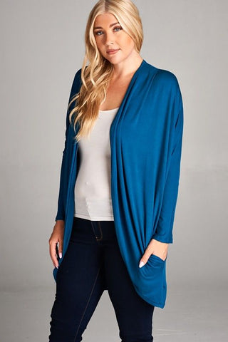 Dolman Sleeves Draped Cardigan with Hidden Pocket Dark Teal