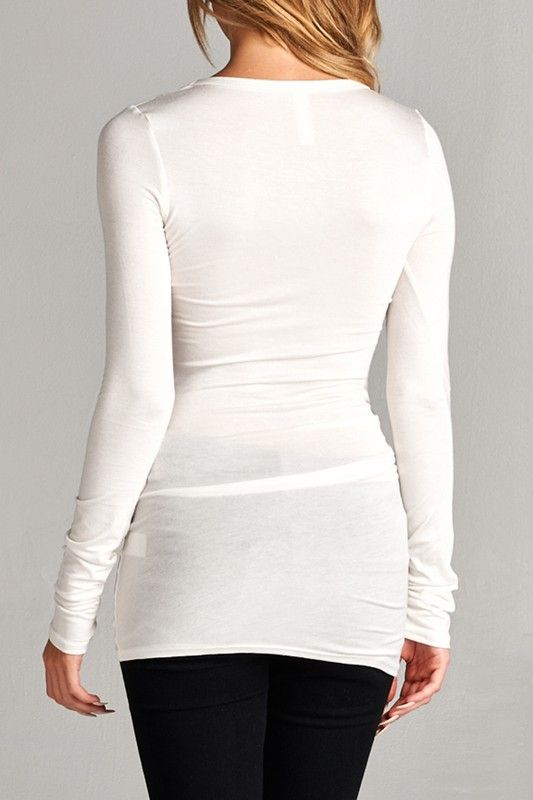 Ivory Long Sleeve Basic Top