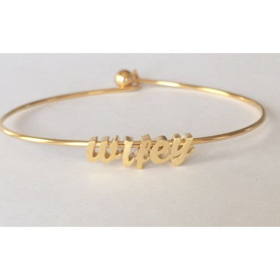 Brinn and Bell Jewelry. Wifey Bracelet, Gold plated bracelet bangle bracelet comes with ball and hook closure on the back, Silver is rodium plated.
