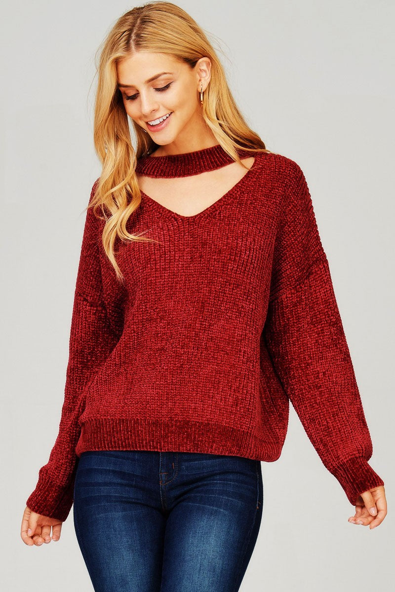 Knit pullover sweater Supersoft shiny chenille yarn Open neck choker style