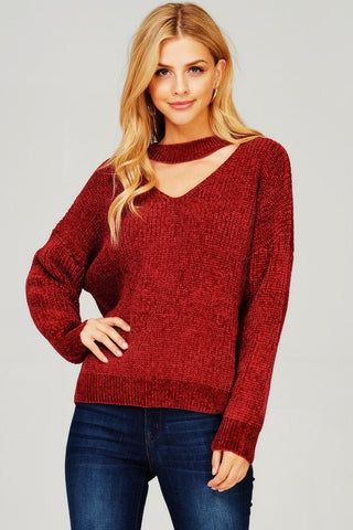 dd887f4489b Knit pullover sweater Supersoft shiny chenille yarn Open neck choker style  ...