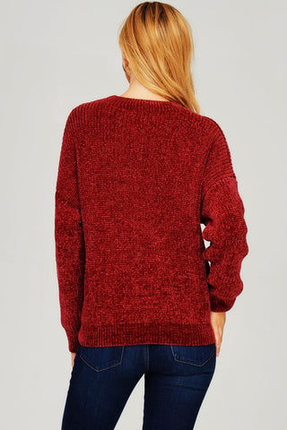 Wine Choker Knit Sweater