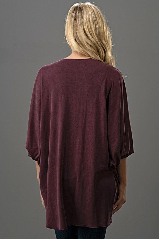 Solid Wine Open Front Cardigan