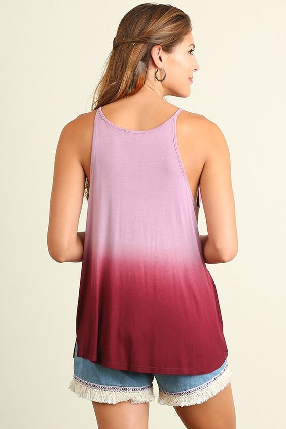 Ombre Fringed Tank Top