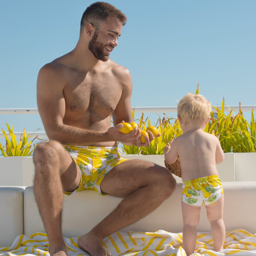 matching swimwear lemon dad and son