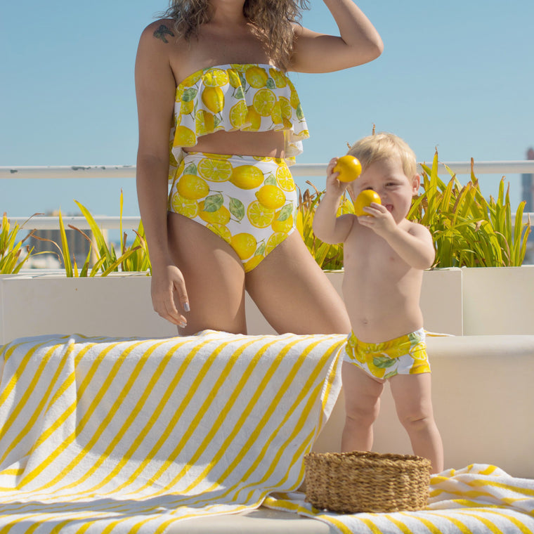 matching swimwear mother and son lemon print