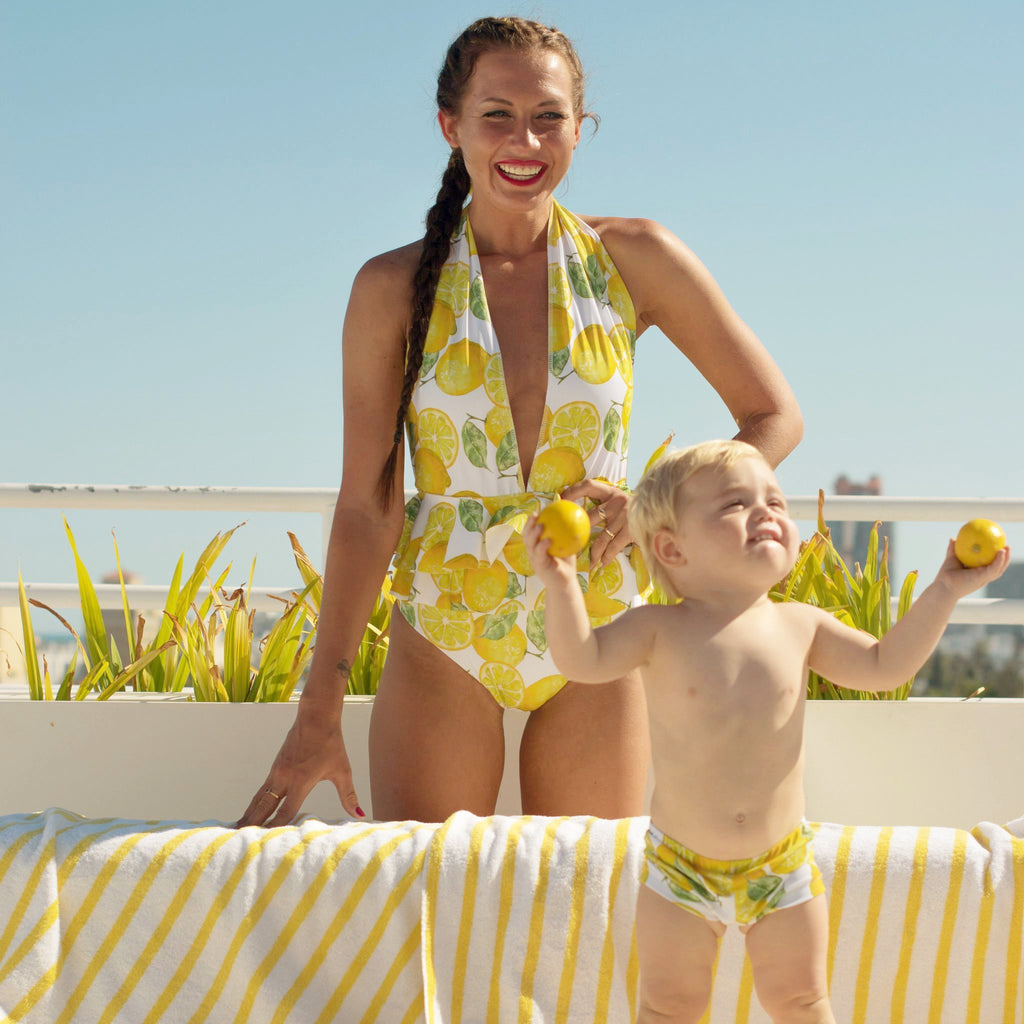 matching swimwear mommy and son lemon