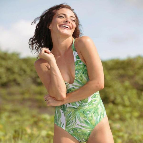 Matching swimsuits - Woman one piece swimsuits - Banana leaves