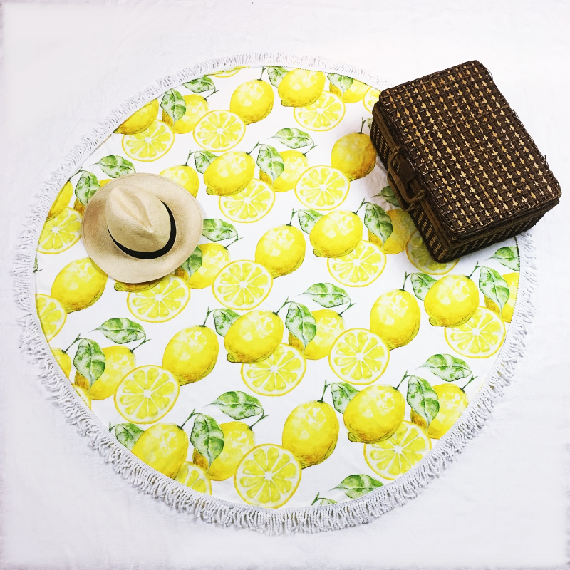 round beach towel lemon - mix and match with your swimsuit