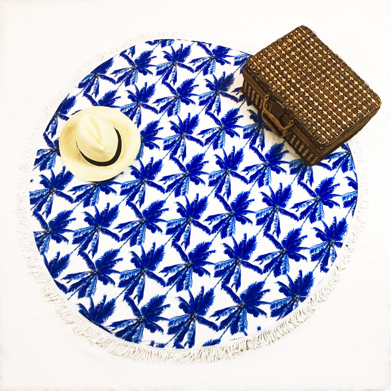round beach towel palm - mix and match with your swimsuit