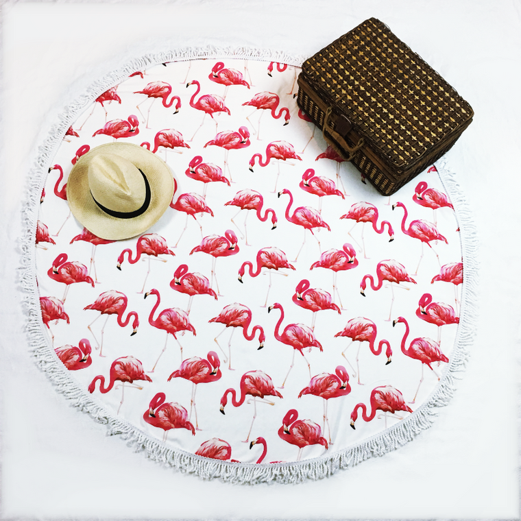 round beach towel flamingo - mix and match with your swimwear