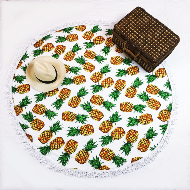 round beach towel pineapples - mix and match swimwear