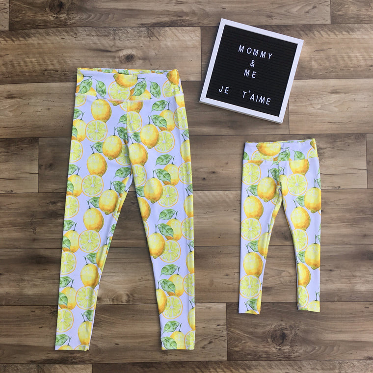Lemon leggings for mommy and me - mother and daughter matching outfits