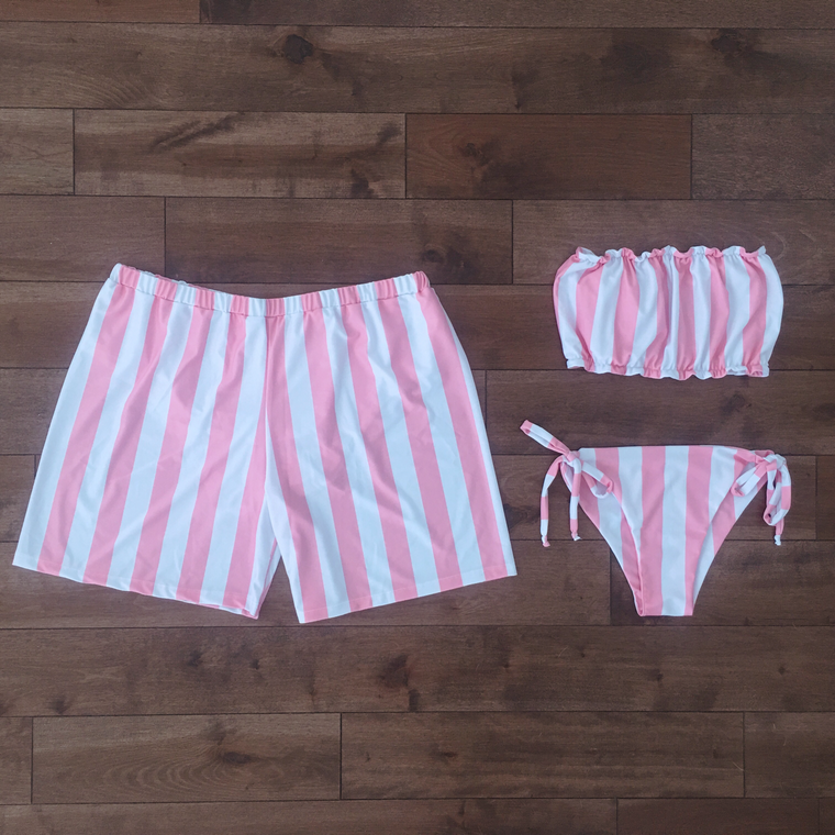 Pink stripes - Couple Swimsuits - women and men