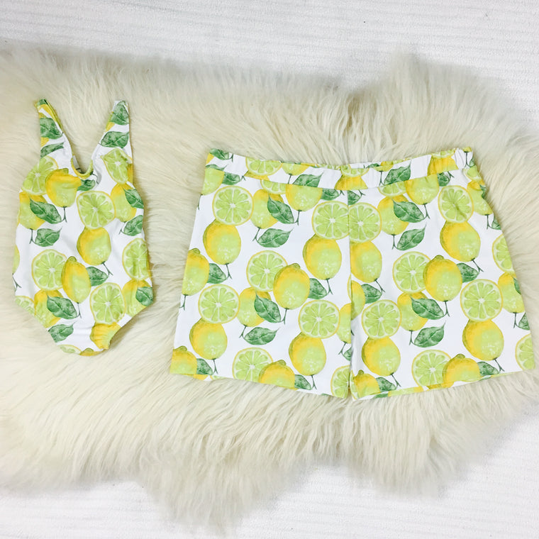 matching swimwear for daddy and daughter lemon print