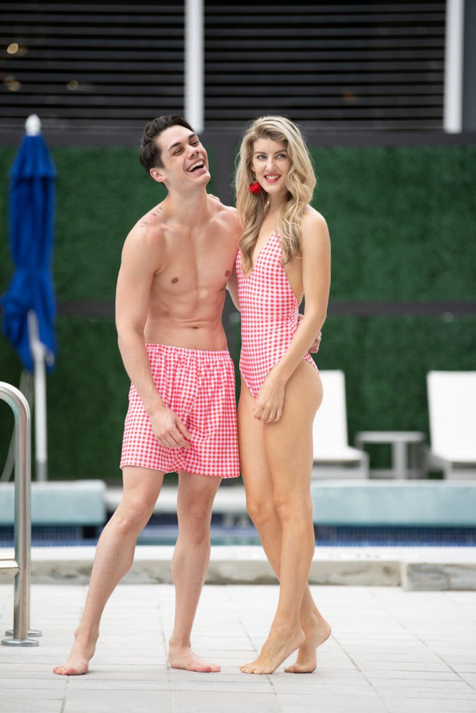 couple swimsuit , matching couple swimwear , red gingham