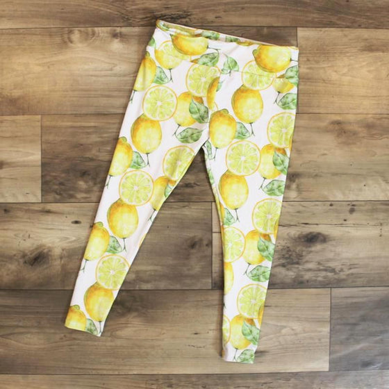 leggings for kids lemon print - yoga outfit - yoga pant