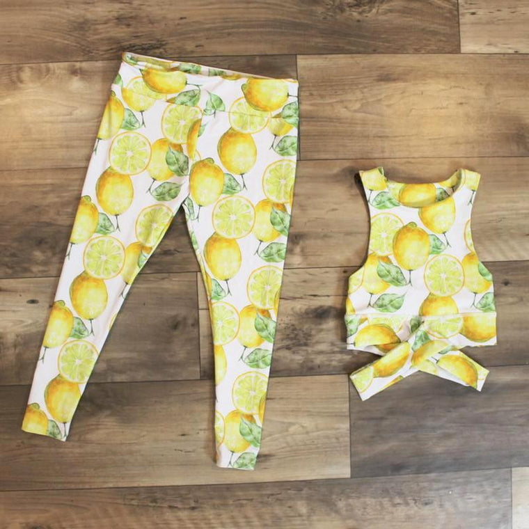 yoga outfit for kids - lemon print