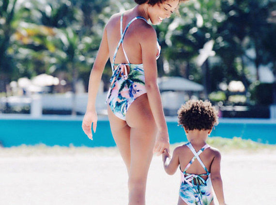 Pink - Mommy and me swimsuits  - mother and daughter.