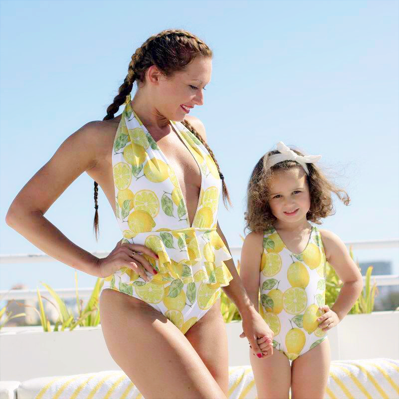 Lemon - Mommy and me swimsuits  - mother and daughter.