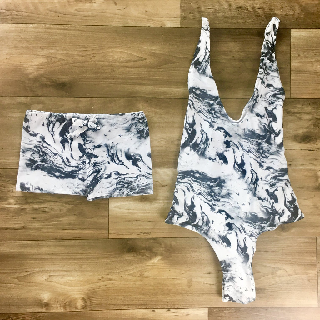 Mommy and me marble swimsuit