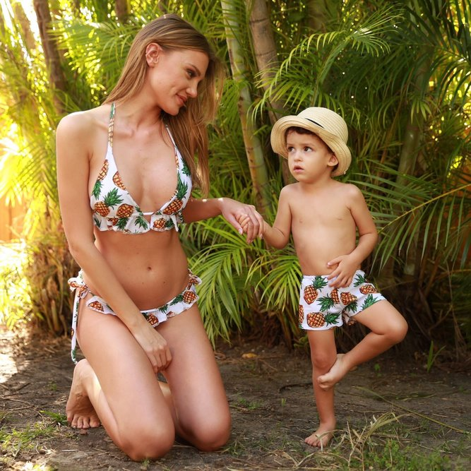 Pineapples - Mommy and me swimsuits - mother and son