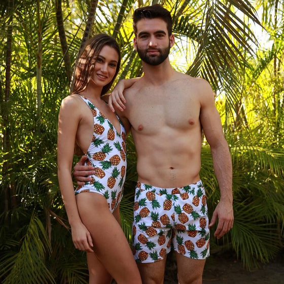 Mommy and me matching swimsuits - pineapples - couple