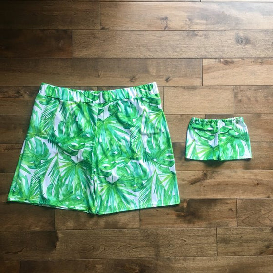 matching swimsuits - daddy and son matching swimwear - leaves beachwear - tropical swimwear