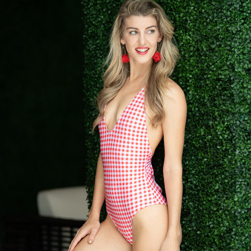 red gingham one piece swimsuit
